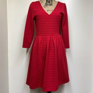 Alya Cherry Red Ribbed 3/4 Length Sleeve A line dr